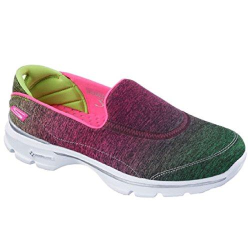 Skechers - Zapatillas deportivas modelo Go Walk 3 Aura sin cordones para mujer Rosa/Lima