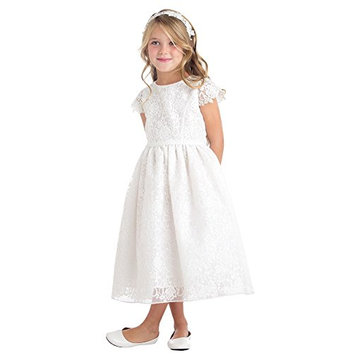 (Sweet Kids Little Girls Off-White Floral Embroidered Flower Girl Dress 5)