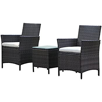 Patio Rattan Outdoor Garden Furniture Set Of 3PCS, Wicker Chairs With Table Part 34