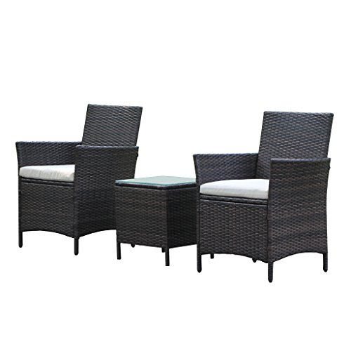 Patio Rattan Outdoor Garden Furniture Set of 3PCS, Wicker Chairs With Table (Outdoor Chair Set)