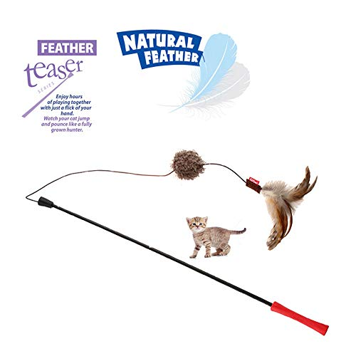 - Julia's GiGwi Natural Feather Wand Cat Toy with Ball and Long 20 Inch Wand, Premium Interactive Feather Teaser Cat Toys for Exercising Your Cat or Kitten