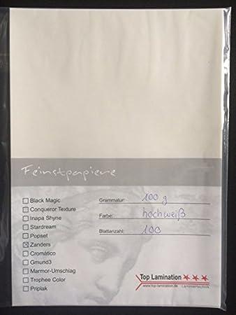 100 hojas de papel DIN A3 transparente Zanders Spectral Blanco, 100 g/m² de Top Lamination - Excelente traspaso, muy buena calidad, para invitaciones, ...
