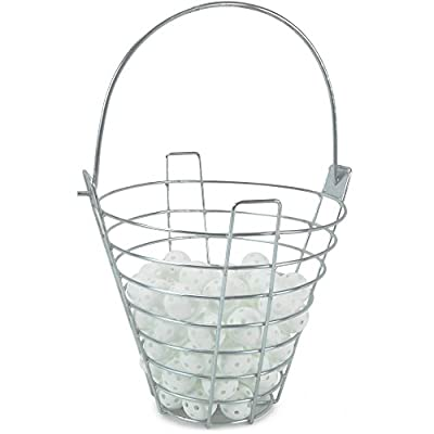 Range Bucket with 72 Practice Golf Balls: White Polyurethane Plastic Balls with Metal Ball Carrying Container by Crown Sporting Goods