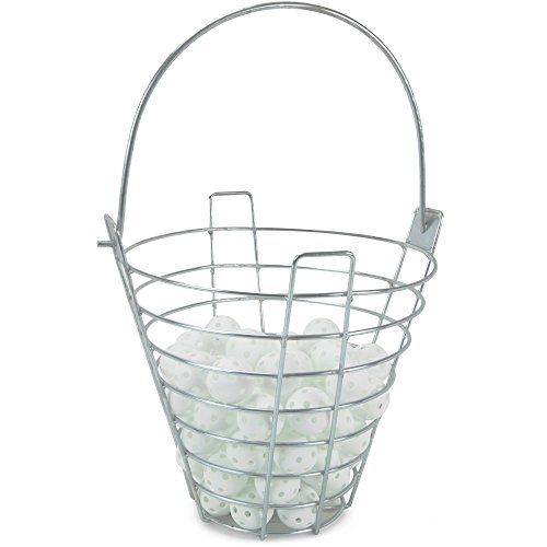 Range Bucket with 72 Practice Golf Balls: White Polyurethane Plastic Balls with Metal Ball Carrying Container by Crown Sporting - Bucket Ball 72