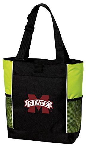 Bulldogs State Bag Mississippi Gym (MSU Bulldogs Tote Bag COOL LIME Mississippi State University Totes Beach Pool Or Gym)