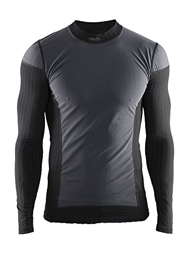 Craft Sportswear Men's Active Extreme 2.0 Windstopper Windproof Lightweight Crewneck Long Sleeve Base Layer Training Shirt, Black, Small
