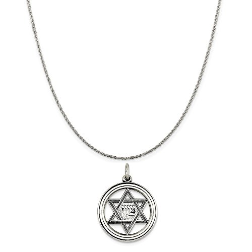 Mireval Sterling Silver Antiqued Star of David Disc Charm on a Sterling Silver Rope Chain Necklace, 16
