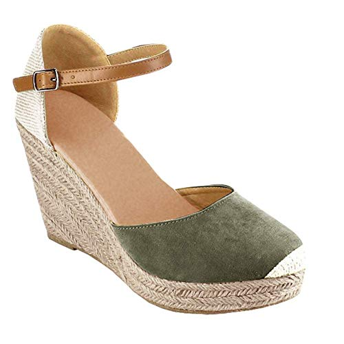 Ermonn Womens Peep Toe Platform Wedge Sandals Espadrille Ankle Strap Mid Heel Braided Sandals (6.5 B(M) US, Green)