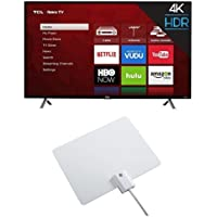 TCL 49S405 49-Inch 4K Ultra HD Roku Smart LED TV (2017 Model) with Winegard FlatWave Micro FL-2000 Digital HD TV Indoor Antenna
