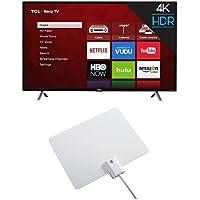 TCL 49S405 49-Inch 4K Ultra HD Roku Smart LED TV (2017 Model) with Winegard FlatWave Micro FL-2000 Digital HD TV Indoor Antenna