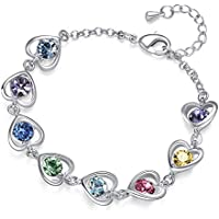 K-Acc Heart Link Bracelet [Gift Packaging] Pretty Shiny Jewelry for Girls and Women