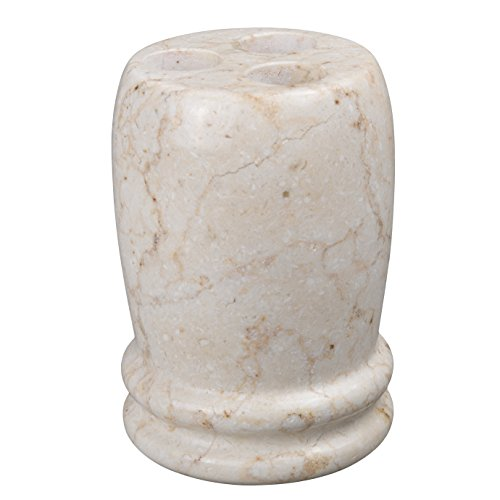 Creative Home Natural Champagne Marble Stone Toothbrush Holder, Double Rings Collection, 3-1/4 Diam. x 4.5 H, Beige