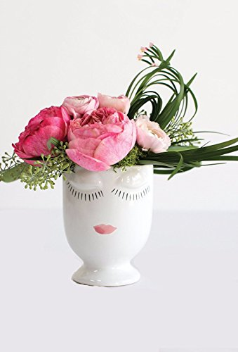 Ceramic Celfie Face Floral Vase in White - 4