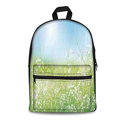 Floral Stylish Canvas School Bag,Floral Field Meadow Fresh Grass Weeds Plant Herbs on Earth with Vivid Sky Graphic for School Travel,11.4