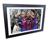 Signed 12x8 Black Soccer 2016/17 Lional Messi Neymar Jr Luis Suarez Barcelona Autographed Photo Photograph Football Picture Frame Gift A4
