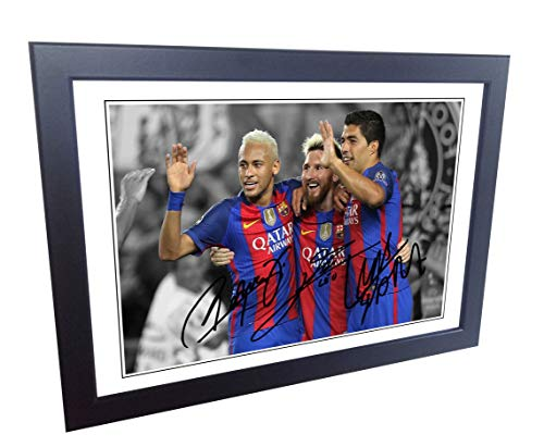 Signed 12x8 Black Soccer 2016/17 Lional Messi Neymar Jr Luis Suarez Barcelona Autographed Photo Photograph Football Picture Frame Gift A4 by Kicks