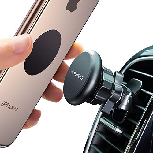 (VANMASS Magnetic Phone Car Mount, Air Vent Mount Magnet Car Phone Mount Holder with Firm Twist Style Vent Clip, Metal Magnetic Head with 6 Strong Magnet, 360° Rotation, Compatible Universal Cell Phone)