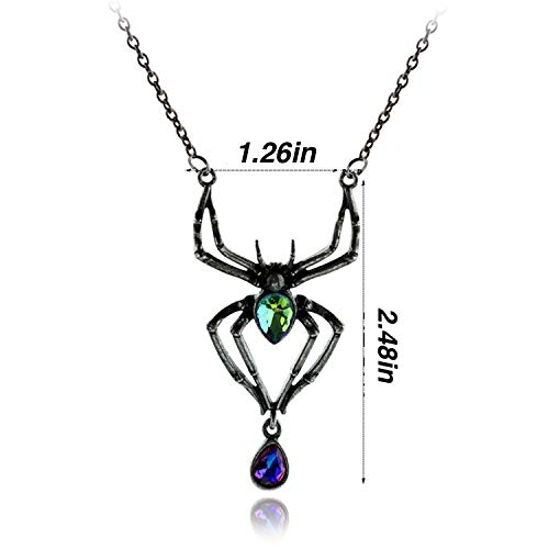 PAPWELL Black Widow Necklace Marvel Vintage Jewelry Avengers Deluxe Halloween Costume Accessory - Emerald Venom Spider -