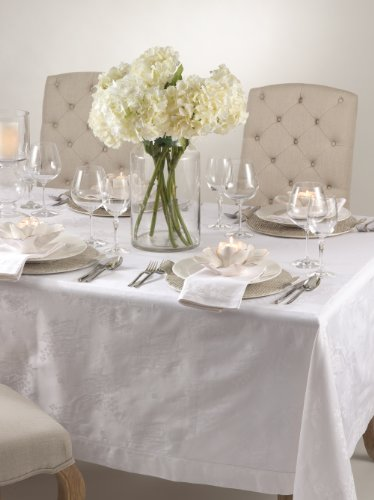 Classic Rose Damask Elegant Tablecloth. White Color. 100% Cotton. (70