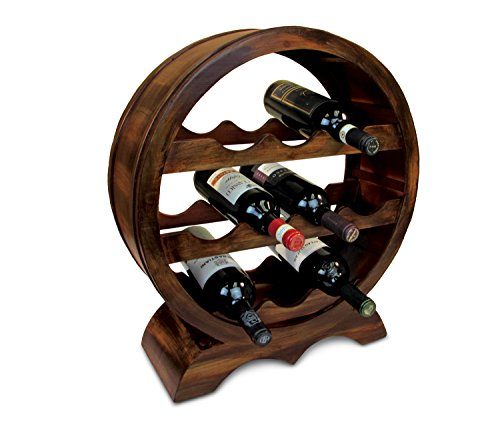Puzzled Solomon Wine Rack 10 Bottle Free Standing Wine Holder Bottle Rack Floor Stand Or Countertop Wine Wooden Barrel Decor Storage Organizer Liquor Display to Decorate Home Kitchen Bar ()