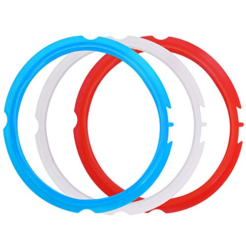 Silicone Sealing Ring for Instant Pot Accessories, Fits mini 3 Quart Models, Red, Blue and Common Transparent White, Sweet and Savory Edition, Pack of 3 ()