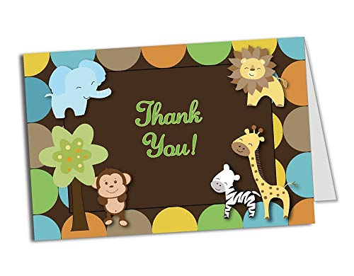 50 (Thick Card Stock) Jungle Foldover Thank You Cards - Baby Shower - Birthday Party - Any Occasion - A6 Size