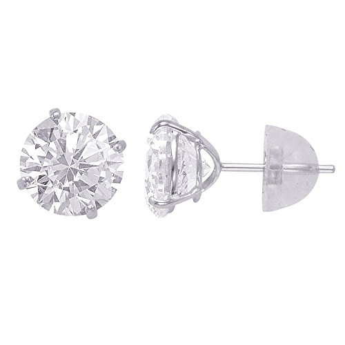 (14kt Solid White Gold Superbright Clear Cz Basket Setting Round Pushback Stud Earrings (8mm))