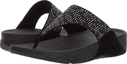 FitFlop Women's Lulu Popstud Flip Flop, Black, 8 M US