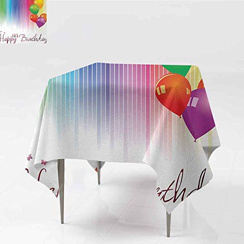 DILITECK Polyester Tablecloth Birthday Rainbow Colored Striped Backdrop Balloons Stylized Lettering Candles Artwork Prit Party W70 xL70 - Candles Drop Danish
