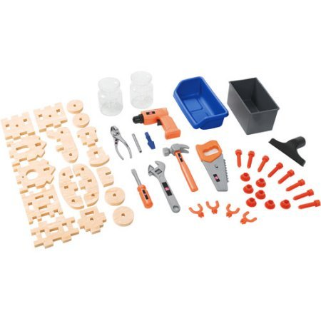 Deluxe Workshop Great for the little builder Large work surface Durafoam construction Realistic overhead shop light 50-piece accessory set Product Dimensions (L x W x H): 15.00 x 34.00 x 40.75 Inches