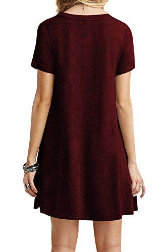 YMING mujeres sueltas vestido de manga corta casual túnica camisa larga vestido mini borgoña
