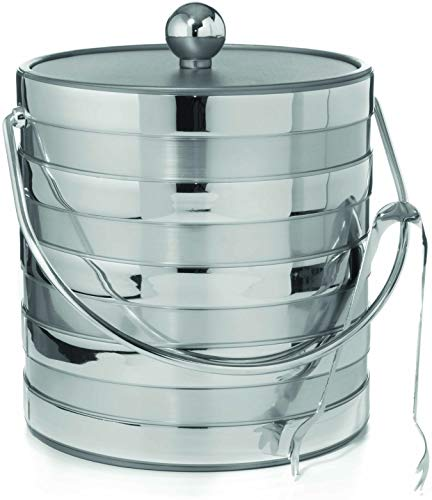 Hand Made In USA Matte/Shiny Brushed Silver Stripes Double Walled 3-Quart Insulated Ice Bucket With Bonus Ice Tongs