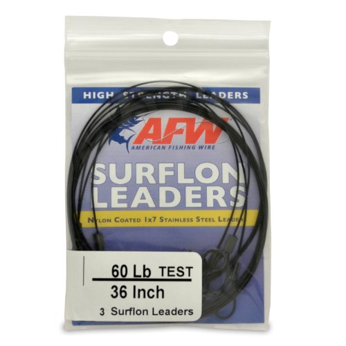 American Fishing Wire Surflon Leaders, Black Color, 60 Pound Test, 36 -Inches, 3-Pack