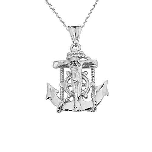 White Gold Anchor Pendant - Exquisite 10k White Gold Nautical Jesus Christ Crucifix Cross Anchor Pendant Necklace, 16
