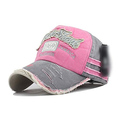 春 野球帽 カセット骨 綿 男性女性 帽,ピンク,調節可能な
