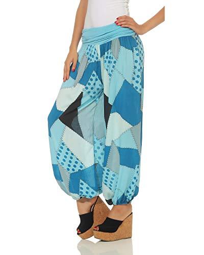 Aladdin Pantaloni Patchwork Stampa Estivi Azzurro Zarmexx FUv8wETR8