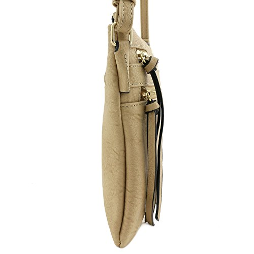 Pocket Crossbody Zip Light Functional Multi Tan Bag RqEtW8SwW