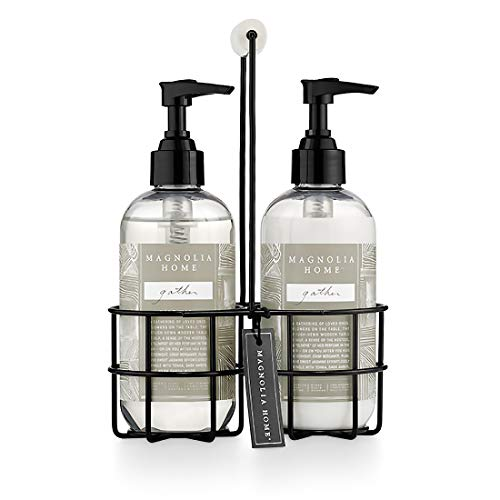 Magnolia Home Fragrance Gather Scent 8 Ounce Hand Wash and Lotion Sink Caddy Set (Magnolia Gaines)