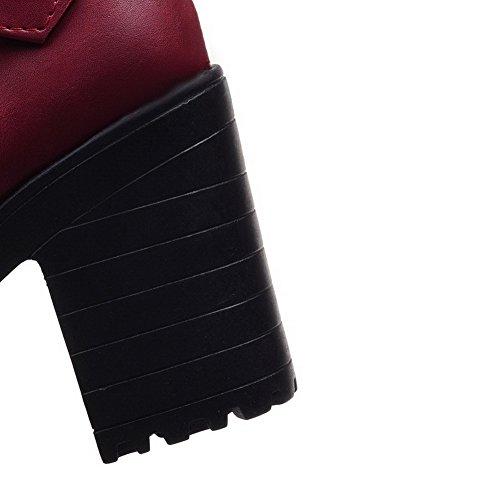 Amoonyfashion Donna Low-top Pull-on Materiale Morbido Tacchi Alti Stivali Chiusi Punta Chiusa Claret
