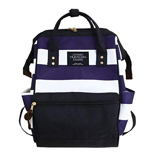 SUNyongsh Large-capacity Canvas Student Fashion Clip Stripe Contrast Color Backpack