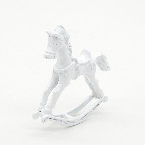 Odoria 1:12 Miniature White Rocking Horse for Baby Room Dollhouse Fairy Garden -