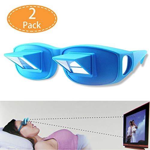 Prism Glasses for Reading in Bed, Light Weight Horizontal Lazy Readers Spectacles Laying Down for Reading/Watching TV, Myopia/Presbyopia Usable (2 Pack, Blue)