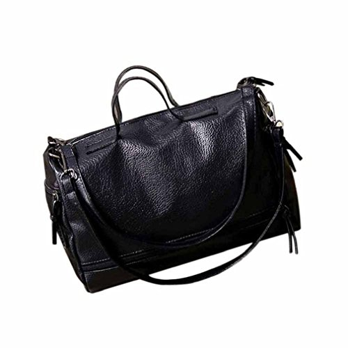 - morecome Fashion Women Leather Handbag Cross Body Shoulder Messenger Bag (Black)