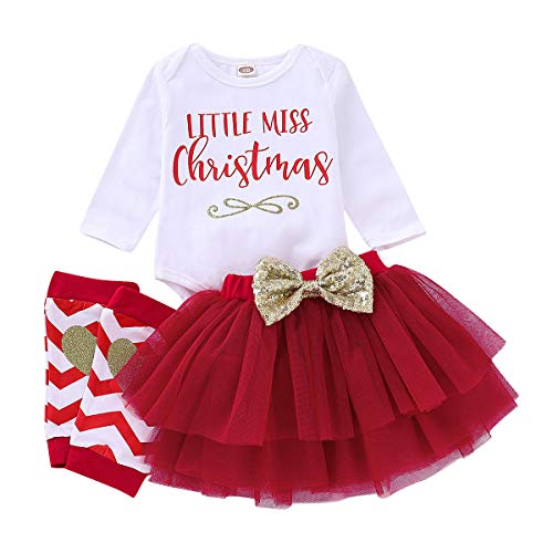 Baby Christmas Outfit Little Miss Christmas Romper Girls Tutu Skirt with Glitter Heart Leg Warmers Xmas Gifts 18-24 Months -