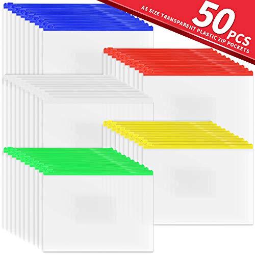 Bestsupplier 50 Pcs Clear Plastic Mesh Zip Document Pouches Zip File Folders with A5 Size Paper, 5 Color