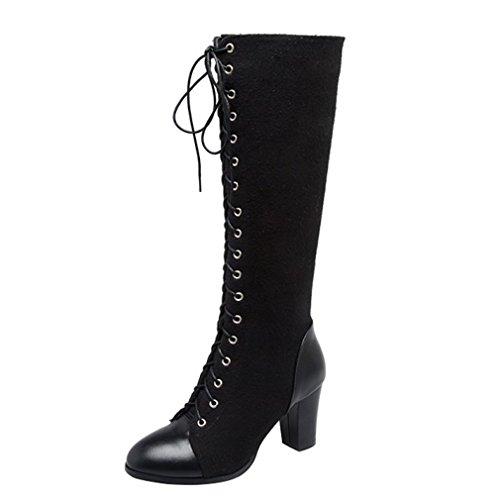 ENMAYER Mujer PU con Suede Material Tacones de tacón alto Tacones altos con cordones Botas de invierno Retro Negro