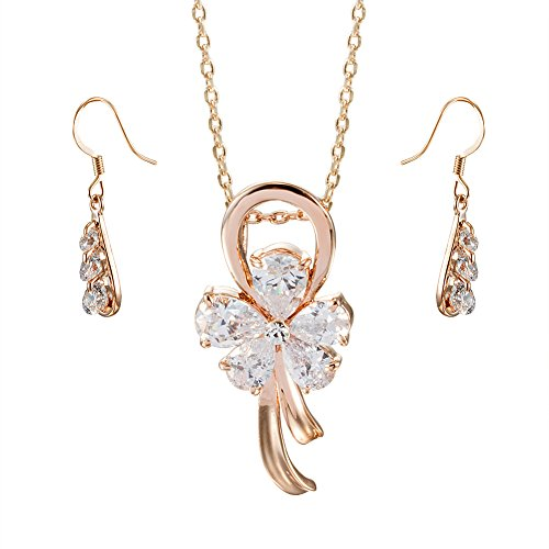 Fashion Plaza Rose Gold Plated Crystal Flower Pendant CZ Necklace and Earring Set S177