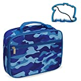 Keeli Kids Insulated Camo Lunch Box School Lunchbox Container for Preschool Kindergarten School Boys with Matching Sandwich Cutter in Blue Camouflage