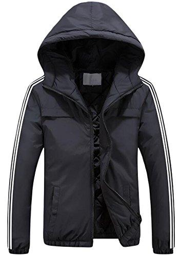 Mens XL Down Thicken US Jacket Black Hooded Fashion Heavyweight EKU gazUwqdg