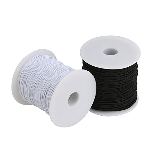 Tenn Well Elastic Cord Thread, 328 Feet x 2 Rolls 1mm Stretchy Bead Thread for Bracelets, Jewelry Making and Craft (Black, White) by Tenn Well